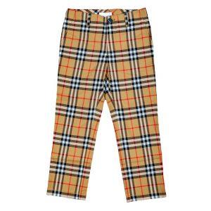 Pantaloni in cotone check foderati-0