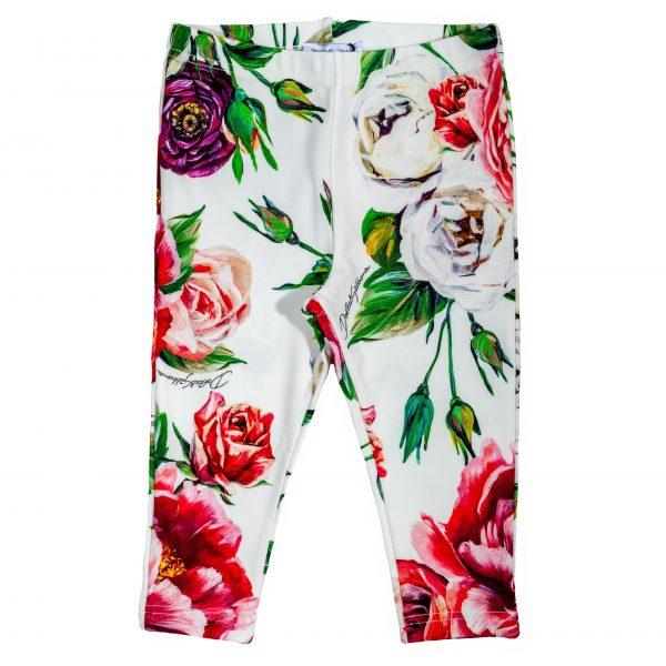 Pantalone leggings in cotone stampa Peonie-0