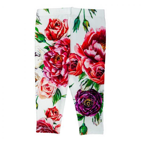 Pantalone leggings in cotone stampa Peonie-415