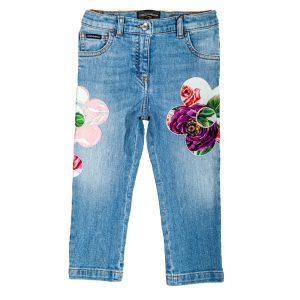 Jeans elasticizzato impreziosito da ricami floreali Peonie-0