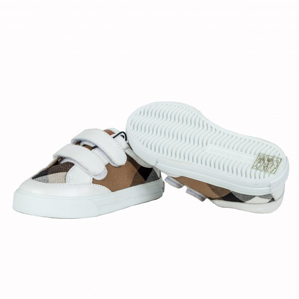Sneakers tessuto canvas check e pelle-567