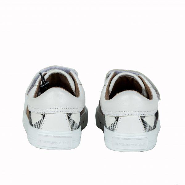 Sneakers tessuto canvas check e pelle-566