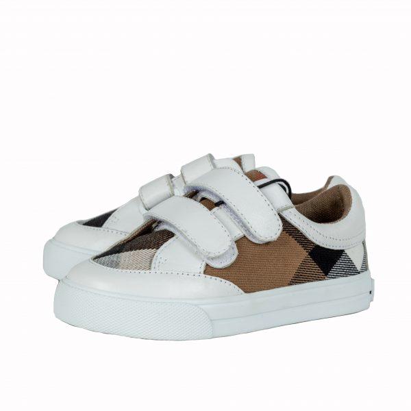 Sneakers tessuto canvas check e pelle-0